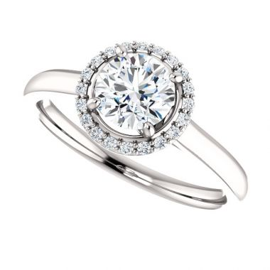 14k White Round Semi-Mount Engagement Ring