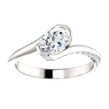 14k White 3/4 Carat Oval Semi-Mount Engagement Ring