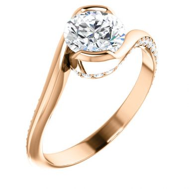 18k Rose 1 Carat Round Semi-Mount Engagement Ring