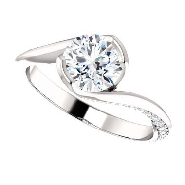 14k White 1 Carat Round Semi-Mount Diamond Engagement Ring
