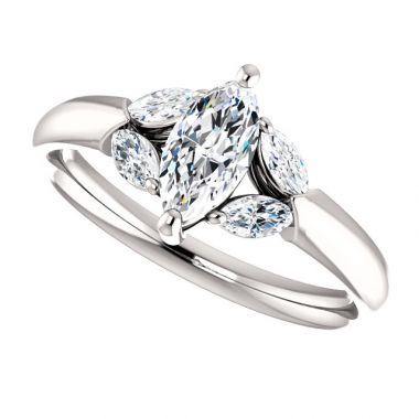 14k White 8x4 Marquise Semi-Mount Engagement Ring