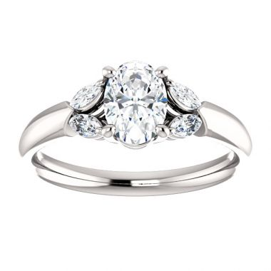 14k White 7x5mm Oval Semi-Mount Engagement Ring