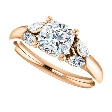 14k Rose 6x6 Cushion Semi-Mount Engagement Ring