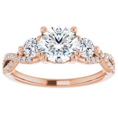 14k Rose Gold Diamond Engagement Ring Semi-Set