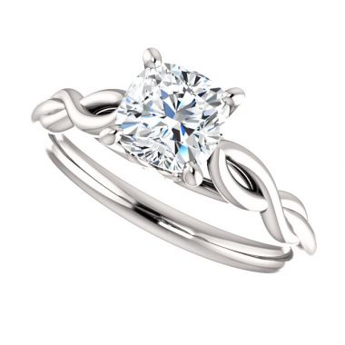 14k White 1 Carat Cushion Semi-Mount Engagement Ring