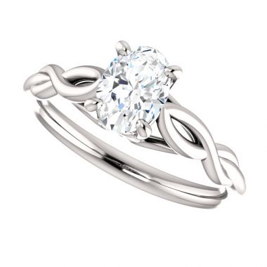 14k White 1 Carat Oval Semi-Mount Engagement Ring