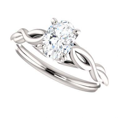 14k White 1 Carat Oval Semi-Mount Engagement Ring