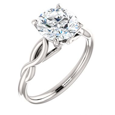 14k White 1 Carat Round Semi-Moung Engagement Ring