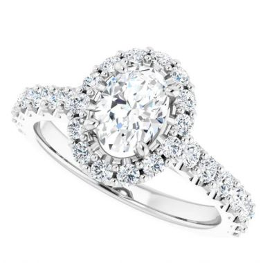 14k 7x5 Oval Halo Diamond Engagement Ring Semi-Mount