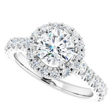14k Round Halo Diamond Engagement Ring Semi-Mount