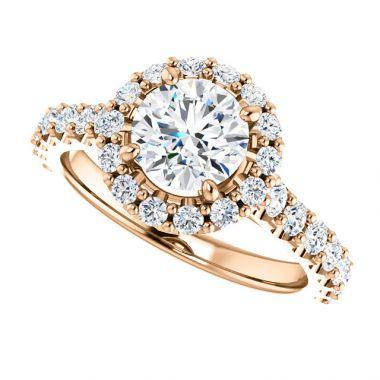 14k Rose 1 Carat Round Halo Diamond Engagement Semi-Mount