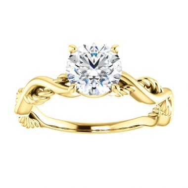 14k Yellow 1 Carat Twisted Round Solitaire Mounting Semi-Mount