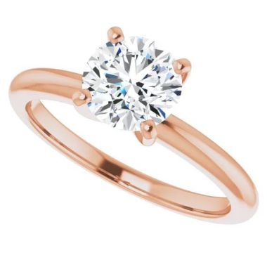 14k Rose Gold Solitaire Engagement Ring Semi-Mount
