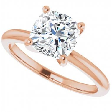 14k Rose Gold Cushion Solitaire Engagement Ring Semi-Mount