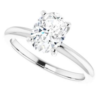 14k White Gold Oval Solitaire Engagement Ring Semi-Mount