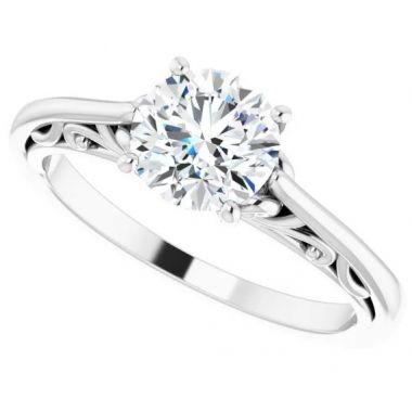 14K White Gold 1 Carat Round Engagement Ring Semi-Mount