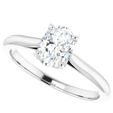 14k White Gold Oval Solitiare Engagement Ring Semi-Mount