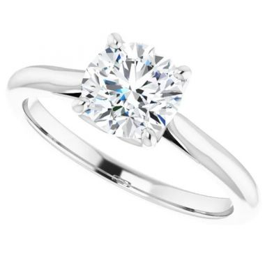 14k White Gold Round Solitaire Engagement Ring Semi-Mount