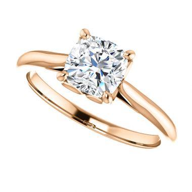 14k Rose Gold 1 Carat Cushion Engagement Ring Semi-Mount