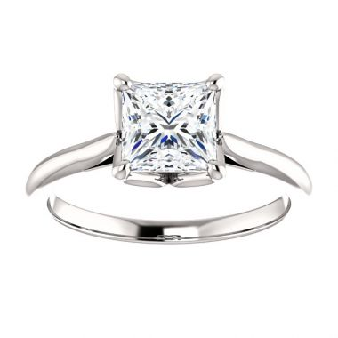 14k White Gold 1 Carat Princess Cut Engagement Ring Semi-Mount