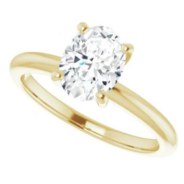 14k Yellow Gold Oval Solitaire Engagement Ring Semi-Mount