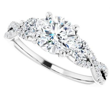 14k White Gold Diamond Engagement Ring Semi-Set