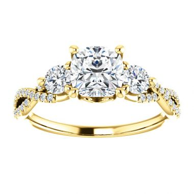 14K Cushion Yellow Gold Diamond Engagement Ring Semi-Set