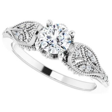 14k 1/10 CTW White Gold Diamond Engagement Ring Semi-Mount