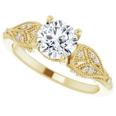 14k 1/10 CTW Yellow Gold Diamond Engagement Ring Semi-Mount