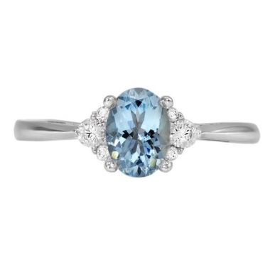 14k White Gold Oval Aqua & Diamond Fashion Ring