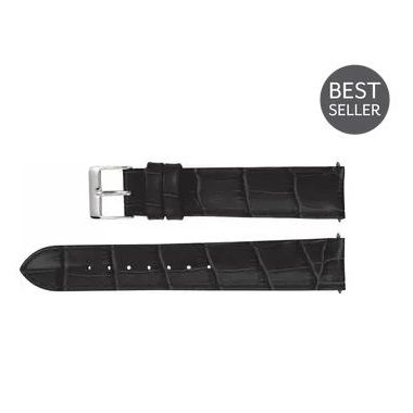 Long Black Leather Alligator Grain Padded Watch Band