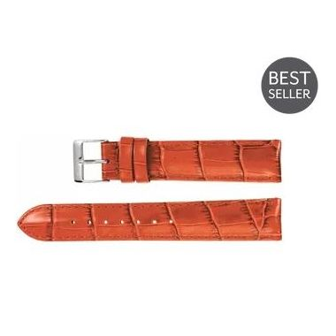 Regular Honey Leather Alligator Grain Padded Watch Band