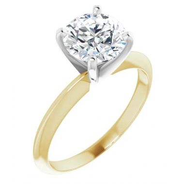 14K Yellow & White 1 Carat Round 4-Prong Light Solitaire Ring Mounting