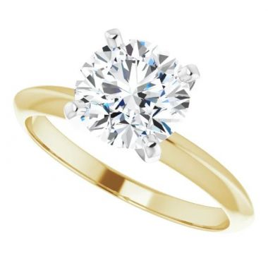 18K Yellow & Platinun Round 4-Prong Light Solitaire Ring Mounting