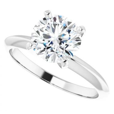 14k Round 4 Prong Light Solitaire Engagement Ring Semi-Mount