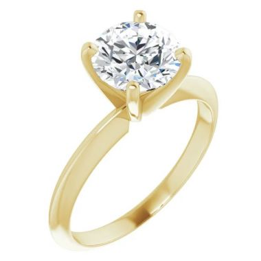 14K Yellow 1 Carat Round 4-Prong Light Solitaire Ring Mounting