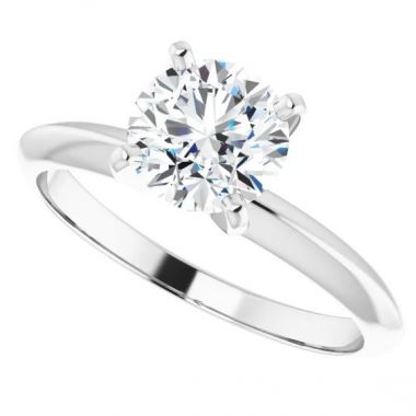10K White 1/4 Carat Round 4-Prong Light Solitaire Ring Mounting