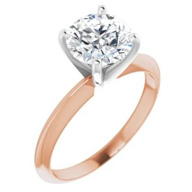 14K Rose & White 1 Carat Round 4-Prong Light Solitaire Ring Mounting