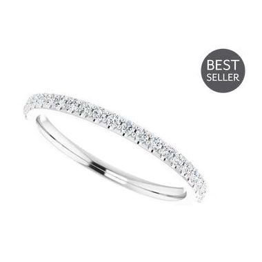 14k White 1/4 Carat Straight Diamond Wedding Band