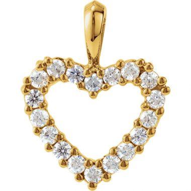 1/3 CTW Yellow Gold Diamond Heart Pendant