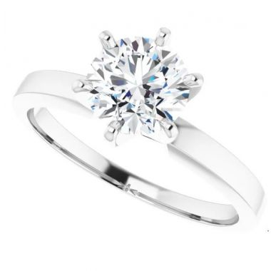 14k Round 6 Prong Solitaire Engagement Ring Semi-Set