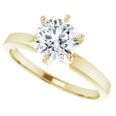 14k Yellow Gold Solitaire Engagement Ring Semi-Mount