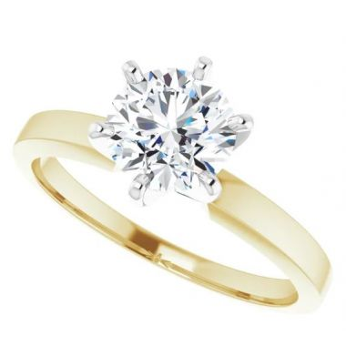 14k Two-Tone Gold Solitaire Engagement Ring Semi-Mount
