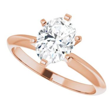 14K Rose 1 Carat Oval 6-Prong Solitaire Engagement Ring Semi-Mount