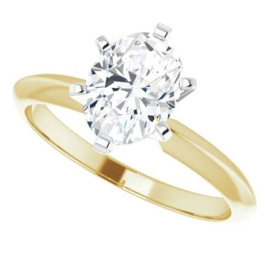 14K Yellow & White 1 Carat Oval 6-Prong Solitaire Engagement Ring Semi-Mount