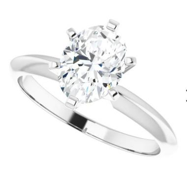 14K White 1 Carat Oval 6-Prong Solitaire Engagement Ring Semi-Mount