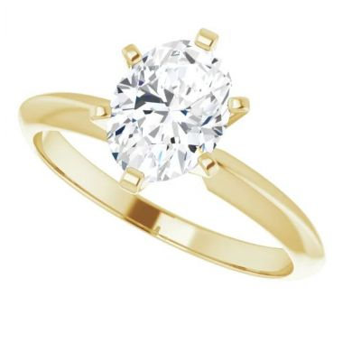 14K Yellow 1 Carat Oval 6-Prong Solitaire Engagement Ring Semi-Mount
