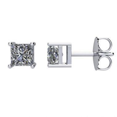 14k White 1.00 Carat Princess Cut Diamond Stud Earrings