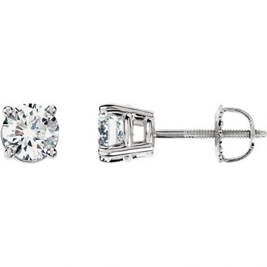 14k White 1.26 Carat Diamond Stud Earrings