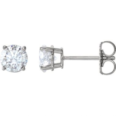 14k White Gold 1.07 Carat Diamond Stud Earrings